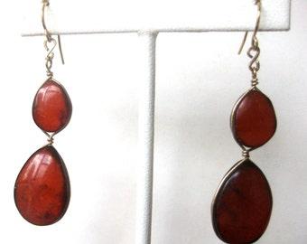 Pair of Amber & Brass Earrings