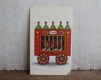 Vintage Flash Card -- Circus Train Car with Tiger