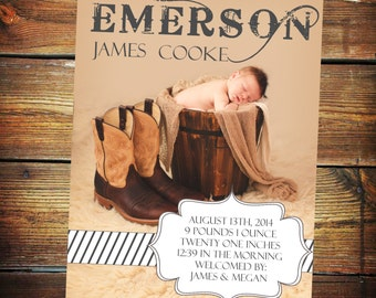 Rustic Baby Announcement Card, Baby Birth Announcement, Western Birth Announcement, Cowboy, Cowgirl, New Baby Announcement, Photo Birth Card