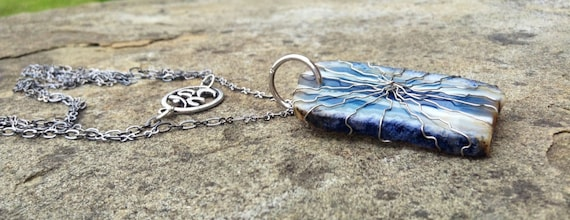 Blue Striped Madagascar Agate Silver Wire Wrapped Slice Necklace