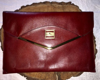 ETIENNE AIGNER VINTAGE Oxblood Leather Clutch Bag 12 x 7.5 x