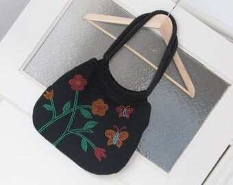 Vintage black handbag, flower handbag, handbag with flowers, orange flower bag, orange flower bag, 80s handbag, for her, women handbag