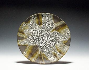 Handmade Dark Stoneware Plate with Abstract Glaze Design 15-034