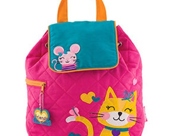 Toddler Stephen Joseph Quilted Cat and Mouse Backpack, Children's Backpack, Monogram, Personalized Backpack, Diaper Bag, Preschool Backpack