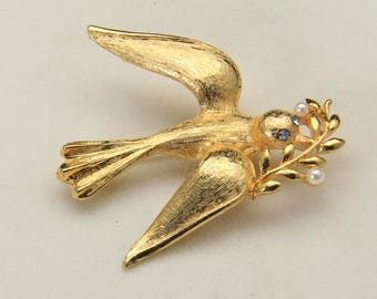 Vintage Bird Peace Dove Brooch Pin Faux Pearl Gold Tone Costume Jewelry Marvella