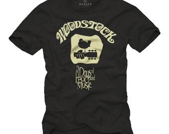 Mens Hippie Vintage T-Shirt black for Music Fans Woodstock S-XXXL