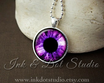 Pink Eyeball Necklace, Eye Pendant, Pink and Purple Eye Necklace, Eyeball Pendant, Halloween Necklace