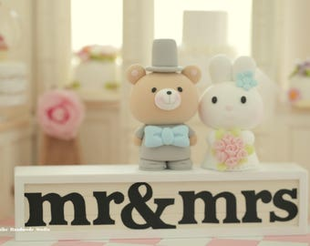 rabbit and bear wedding cake topper