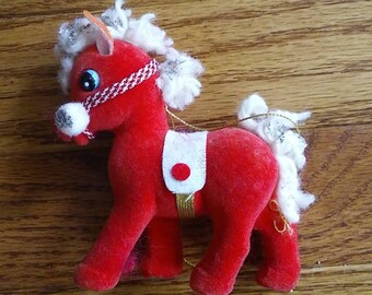 Vintage flocked horse ornament