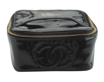 Chanel Black Patent Leather Cosmetic Bag  (146238)