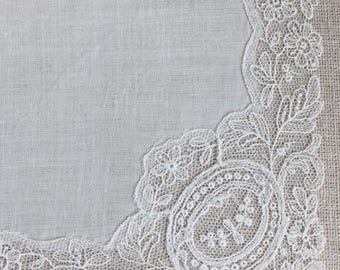 Vintage White Lace Bridal Hanky~Hankie~ Handkerchief