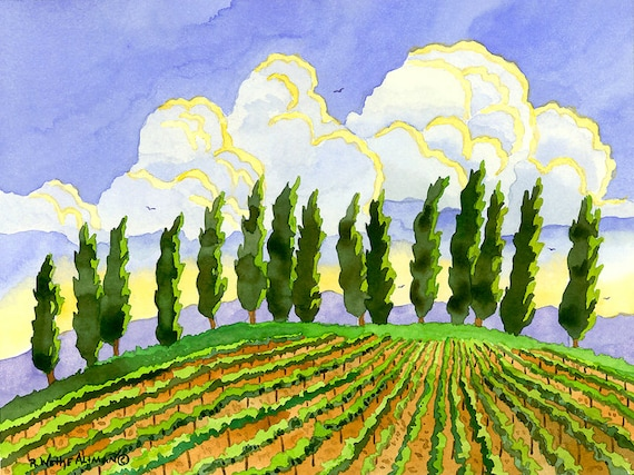 Inspiring Italian Vineyard in Tuscany with Cypress Tree, Fields and Clouds in Watercolor