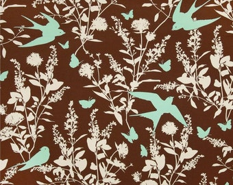 90356 Joel Dewberry Bungalow Swallow study in Chocolate  color Home Dec fabric - 1/2 yard