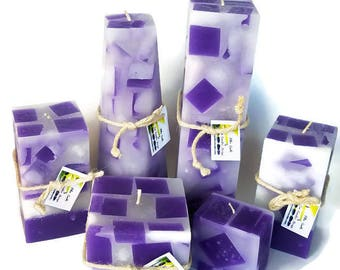 Chunk Lavender Candle - Purple square Candle - Artistic Candle - Unique Candle - decorative  candle - Artisan Candle - hand poured candle