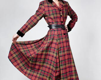 Beautiful Vintage Laura Ashley Tartan Wool Cotton Plaid Dress Victorian Style US 8 UK  Velvet Trim