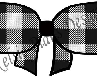 Fancy Bow - Black and White Buffalo Check