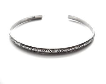 Vintage Silver Cuff Bracelet Etched Leafy Floral Marked STERLING Gift for Her