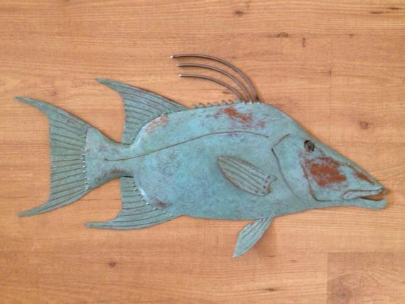 Hogfish Metal Wall sculpture 25in Tropical Beach Coastal Fish Art
