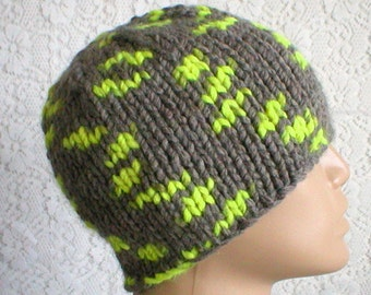 Gray neon yellow beanie hat, skull cap, gray hat, winter hat, toque, mens womens hat, mens gray hat, skateboard hiking, chemo cap