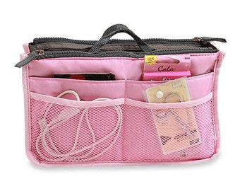 Handbag Insert Bag - PINK - Organizer Zipper Bag - Travel Bag - Cosmetic Bag- ipad mini case