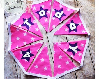 Birthday Bunting, Age Bunting, Number Bunting, Pink, Purple