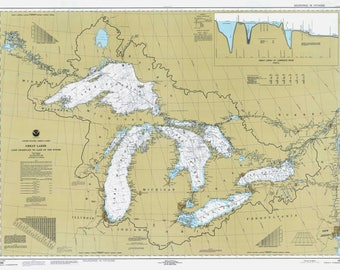 Map Great Lakes Map Art Lake Superior Lake Michigan