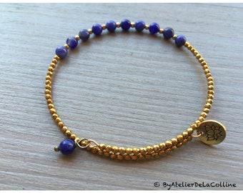 Lotus minimalist bracelet with sodalite and iron gold hematite