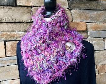 Purple Neck Warmer, Crochet Scarf, Buttoned Neck Warmer, Knit Neck Warmer
