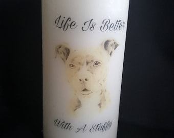 Staffordshire Bull Terrier Candle