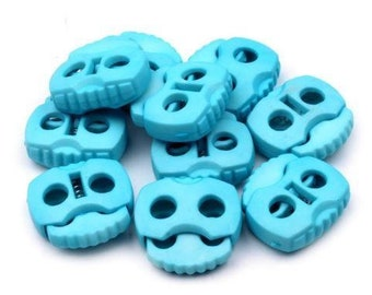 10 Cord stoppers with 2 holes light blue 20 x 20 mm