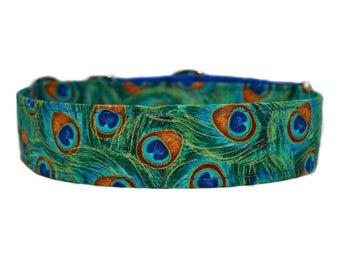 Ready to Ship* Peacock Feathers Dog Collar