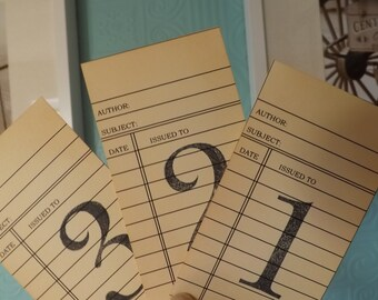 Library cards Wedding Table Number Cards Blue Library Cards wedding library card vintage table numbers card library theme library cards
