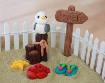 Polymer Clay Beach -  Beach Cake Topper - Terrarium Accessory - Fairy Garden Beach - Miniature Garden Beach - Gnome Garden