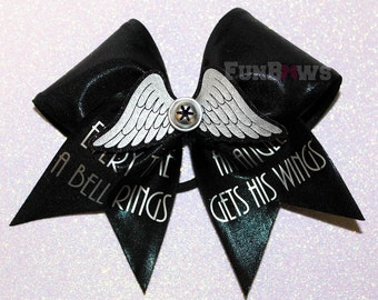 Every Time A Bell Rings an Angel Gets His Wings... Beautiful Cheer with  bow 3-D cutout by FunBows !
