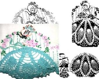 Southern Belle - Crinoline Lady pillowcase crochet & embroidery pattern LW505