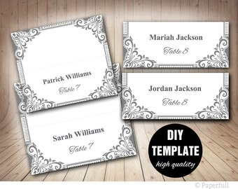Wedding Placecard Template,3.5x2 Foldover, DIY Silver Placecards,Silver Wedding Placecards,Grey Wedding Place cards,Silver Place cards