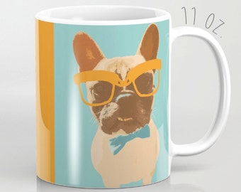 Hipster French Bulldog Mug Puppy Dog 11 15 oz  Cup Tea Coffee Drink Nerd Geek Glasses Animal Funny Unique Gift Fun Cute Lover With Big Humor