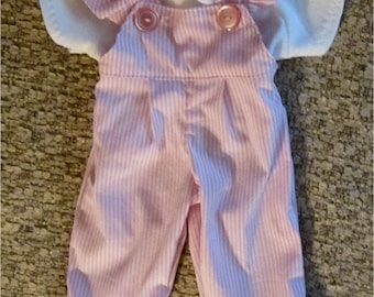 "Baby Doll Clothes Pink White Stripe Overalls T Shirt Set  Fits Bitty Baby Twins and  Other 15"" Baby Dolls"