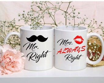 Mr & Mrs Right - Gift for her / Gift for him / Couple Mug / Custom Mug