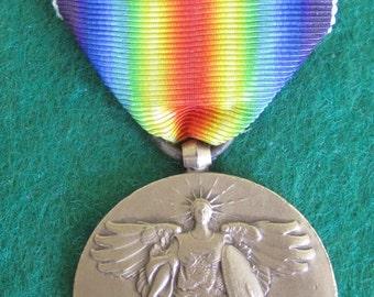 Original 1910's World War I Service Medal & Ribbon Pin - Atlantic Fleet - Free Shipping