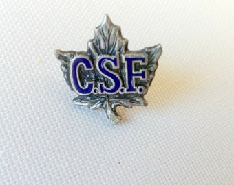 Sterling CSF Pin with screw back, C.S.F. On maple leaf pin, Vintage Canadian Forest Service pin]