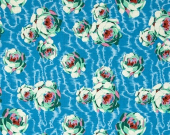1 Yd Amy Butle Fabric FLOWERING BUDS in BLUE Cotton Quilt Fabric Apparel Fabric Closing sale