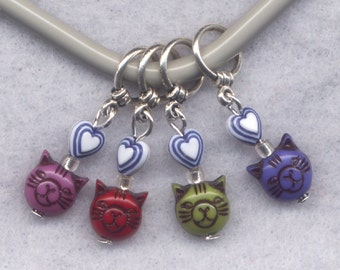 Cat Knitting Stitch Markers Cat Person Kitten Kitty Love My Cat Set of 4/SM173