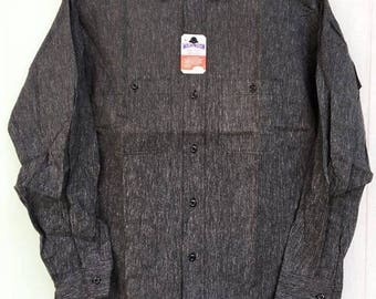 Vintage 60's Washington Dee Cee Black Chambray Shirt Sz.15.5 Deadstock