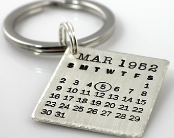 The Original Hand Stamped Calendar Keychain - Mark Your Calendar Keychain with hammered edge, personalized keychain - save the date