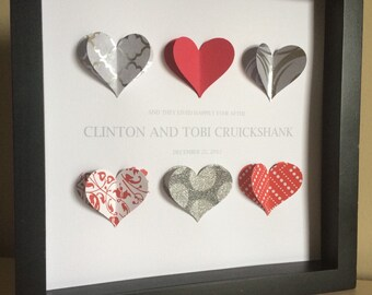 Wedding gift, 3-D paper art, shadowbox frame, gay wedding, anniversary gift, paper anniversary, wedding colors, Wedding shower gift