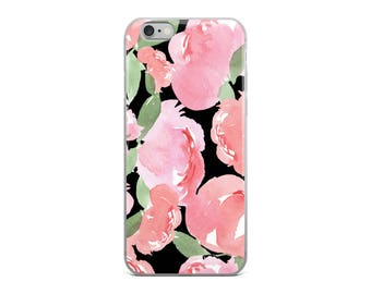 iPhone Case Blush Peony in Black
