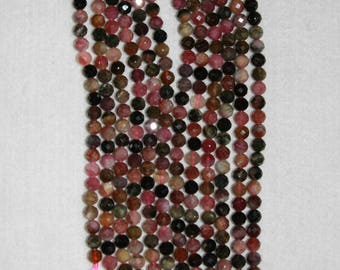 Tourmaline, 5 mm, Faceted Tourmaline, Faceted Bead, Tourmaline Bead, Multicolor Bead, Gemstone Bead, Sparkle Bead,Full Strand, AdrianasBeads