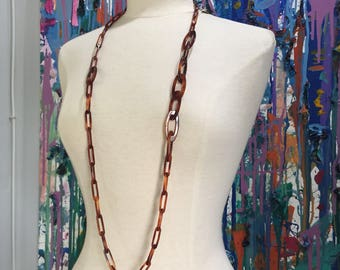 Tortoise shell chain link necklace , resin necklace , lucite necklace