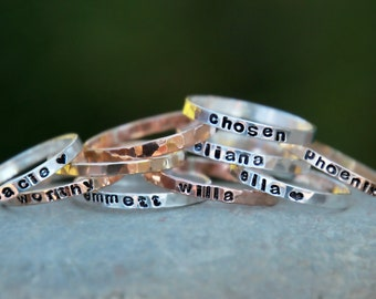 SKINNY Hand STAMPED Stacking RINGS - Personalized Gold, fine silver, rose gold hammered rings - thin hand stamped rings